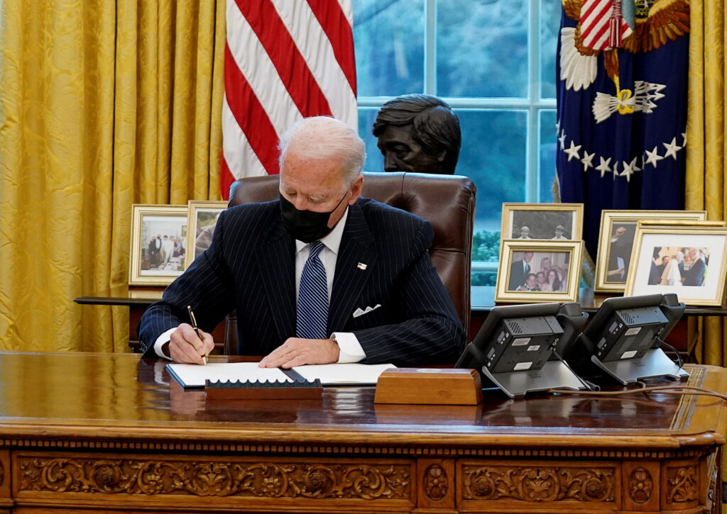 U.S. President Biden meets with new U.S. Defense Secretary Lloyd Austin at the White House in Washington