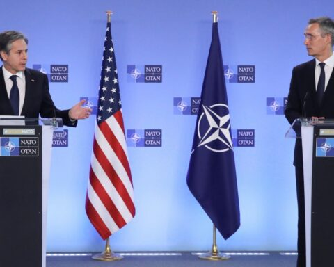 Antony Blinken (left) and NATO Secretary-General Jens Stoltenberg