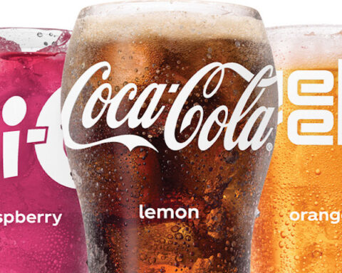 Lineup of Coca-Cola Freestyle beverages in bell glasses